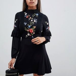 ASOS -Embroidered Long Sleeve Dress